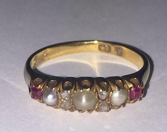 An Antique Garnet, Seed Pearl & Rose Cut Diamond Gold Ring. Birmingham.