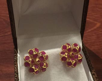 A Pair of Flower Shaped Cluster Ruby Earrings in 18ct Yellow Gold