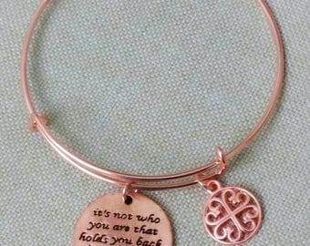Designer Inspired Metal Charm Rosegold Wire Bangle, anniversary gifts, mother's day gifts, birthday gifts, gifts for her