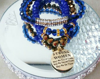 """Designer Inspired Blue & Bronze Good """"Strong Women"""" Charm Bracelet Set, anniversary gifts, birthday gifts,, mother's day gifts, gifts for he"""