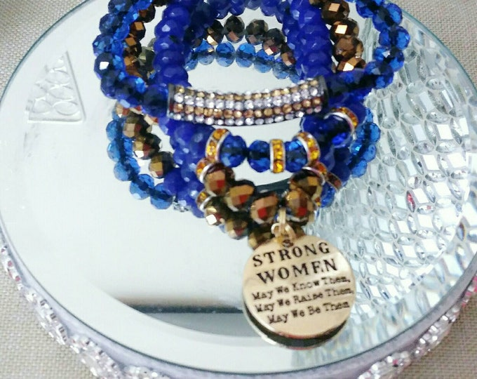 "Designer Inspired Blue & Bronze Good ""Strong Women"" Charm Bracelet Set, anniversary gifts, birthday gifts,, mother's day gifts, gifts for he"