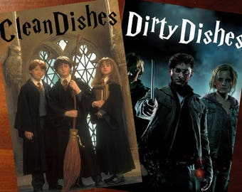 "Harry Potter Reversible  Magnetic Dishwasher Sign | Geek Kitchen | Clean Dirty  Magnet | ""Clean"" ""Dirty"" Harry Ron Hermione"