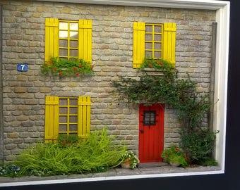 Dollhouse, 1/35 Miniature Model House Front Diorama, Sculpture Wall Art