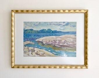 River Meets Sea Original Vintage Gouache Painting Framed