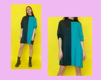 Vintage 80s 90s Teal and Black Color Block Oversized Mock Turtle Neck Dress