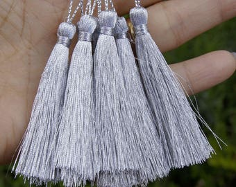 SET OF 4 COLORED POLYESTER TASSEL SILVER HANDMADE + -11 CM