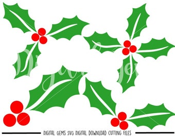 Holly svg / dxf / eps / png files. Digital download. Compatible with Cricut and Silhouette machines. Small commercial use ok.