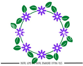 Flower Frame svg / dxf / eps / png files. Digital download. Compatible with Cricut and Silhouette machines. Small commercial use ok.