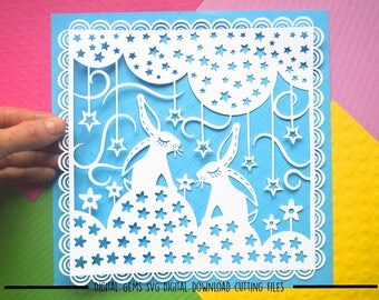 Rabbit paper cut svg / dxf / eps / files and pdf / png printable templates for hand cutting. Digital Download. Commercial use ok