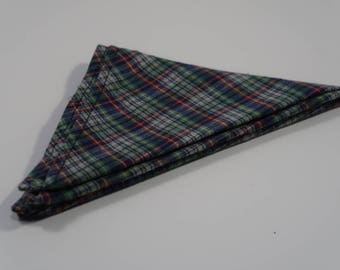 Soft Cotton Flannel Multicolored Plaid Pocket Square