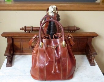 Marino Orlandi Drawstring Bucket Bag In Cognac Leather With Shoulder Strap And Rolled Handles Made In Italy -VGC