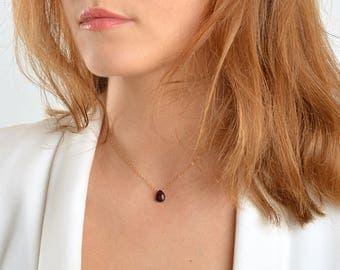 January Birthstone Garnet Necklace, Rhodolite Garnet Drop in 14K Gold Filled, Rose Gold, Sterling Silver, Crystal Necklace, Deep Red Pendant
