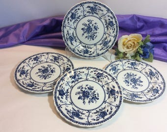 "Vintage (4) Johnson Brothers "" Indies"" Pattern Bread Plates Ironstone Made in England Dishwasher Safe! Blue and White"