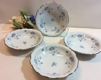 "4- Vintage Johann Haviland "" Blue Garland "" Berry Fruit Bowls Bavaria Germany Green Stamp"