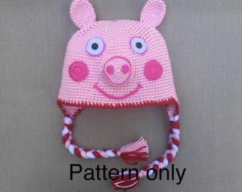 Peppa Pig hat crochet pattern