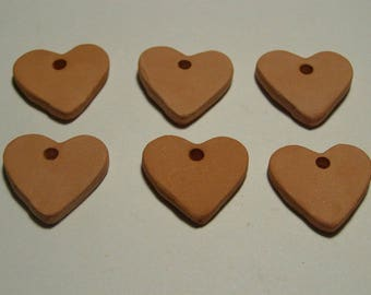 "6 pc Bisque Hearts 1"" 24mm gift tags diffusers aromatherapy jewelry; paint your own; kids; DIY sachets; charms ITPH ceramic kiln fired clay"