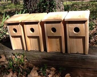 4 Bluebird Bird House Cedar Wood Nest Box Hand Made Predator Guard New Easy Open