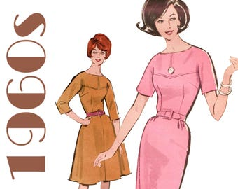 "1960s Dress Pattern Sheath Dress Pattern Wiggle Dress Pattern ADVANCE 3027 UNCUT bust 36"" Yoke Dress Three Quarter Sleeve Mad Men Dress"