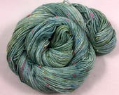 hand dyed sock yarn, Donegal Sock WINTER SAGE, superwash merino wool and NEP, 2 ply, fingering weight yarn