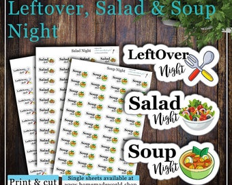 Leftover, Salad and Soup night, Print & cut, SVG, FCM, ScanNCut, Silhouette, Cricut, Happy planner