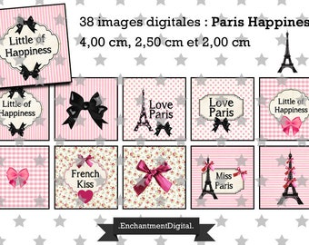 digital images * Paris * Eiffel Tower pink bow kiss Liberty collage digital scrapbooking Medallion cabochon jewel