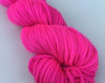 Hand Dyed Superwash Merino DK Neon Pink Semi Solid 50g Midi Skein
