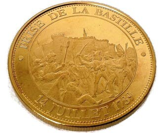 french collectible gold plated medal, Prise de la Bastille, History of France, monument token