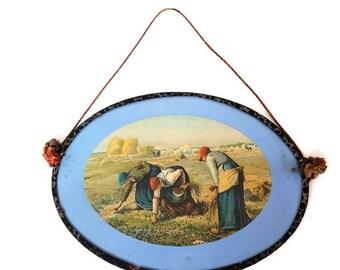 "vintage small oval frame ""Les glaneuses"" by Jean-François Millet"
