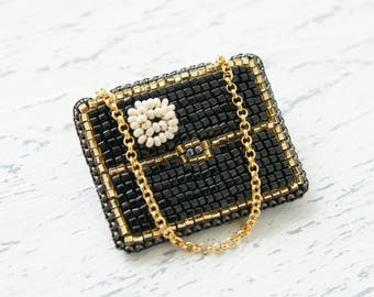 Handbag Brooch INSPIRED BY CHANEL / Beads Brooch / Bag Patch