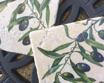 Set of 2 Stone Coasters ~ Green Olives/Mediterranean Inspired/Rustic/Farmhouse