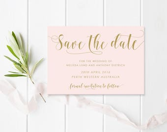 Blush Pink and Gold Wedding Save the Date, Professionally Printed or Digital Printable File, Sweet Blush, Peach Perfect