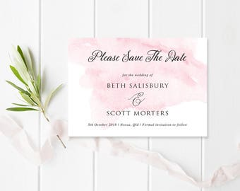 Wedding Save the Date Card Pink Watercolour Wash, Elegant Script Wedding, Beloved Suite, Professionally Printed,Peach Perfect Australia