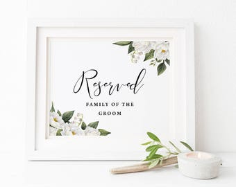 Wedding Reserved Sign, Printable Instant Download, Floral Wedding Sign, White Flower, 5x7 and 6x4 and 8x10 inch, Mandy Suite