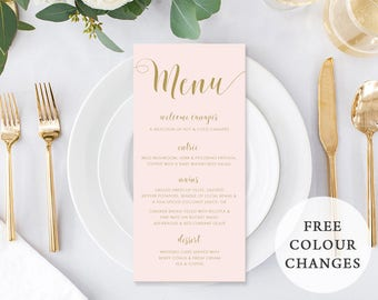 Wedding Menu, Custom Printable Menu, Black and White, Free Colour Changes, DIY Wedding, Print Your Own, Sweet Blush Suite