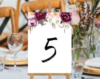 Wedding Table Numbers, Printable, Digital File, Stunning Burgundy Flowers, Watercolour Foliage Table Cards, Justine Suite