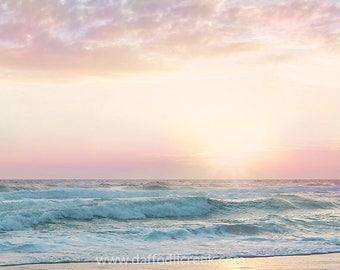 Beach Wall Art, Pink Bathroom Decor, Pastel Wall Art, Pink Beach Art, Beach Art Print, Pastel Sunset Art, Nursery Wall Art, Girls Room