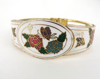 60s enamel bracelet, butterfly bracelet, cuff bracelet, mad men 1960s bracelet, floral bracelet, white flower statement bangle bracelet