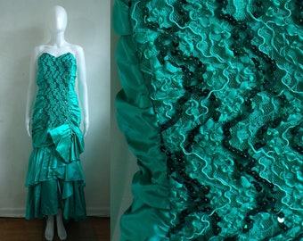 50%offJune27-30 teal sequin gown size small, 80s strapless zum zum fancy dress, ruched satin mullet dress, 1980s prom evening dress