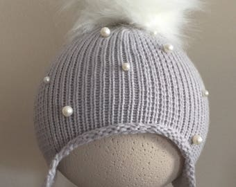 Baby warm winter hat with faux pearl detailing