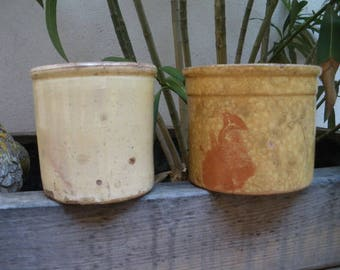 two Antique French pottery SAVOIE yellow glazed confit pot 1920s/1930s..small prize../