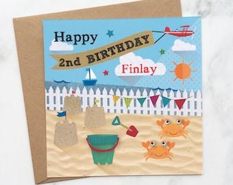 Sandcastle Birthday Card, Beach Birthday Card, Personalised Beach card, Day at the Beach Card, Beach Card, Child's Birthday Card