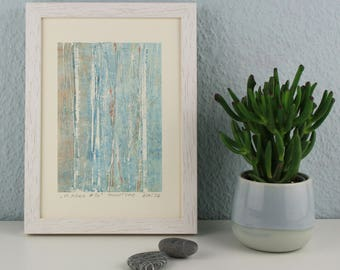 """Original image, Monotype """"Vertical 20"""", size DIN A5, image size 10,5 x 15 cm, forest, trees, abstract landscape"""