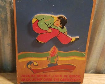 Vintage Jack Be Nimble Nursery Rhyme Wooden Wall Art Rare Find
