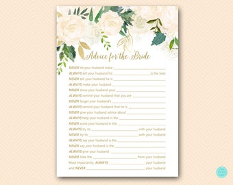 Bluff Advice for the Bride Card, Husband Advice, Never and Always Advice, Printable Advice for the Bride, Printable Bridal Shower BS530P