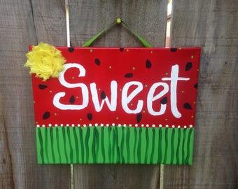 Sweet, Watermelon, Summertime, Handpainted, Canvas, Wall Decor, Canvas Art, Sweet Summertime