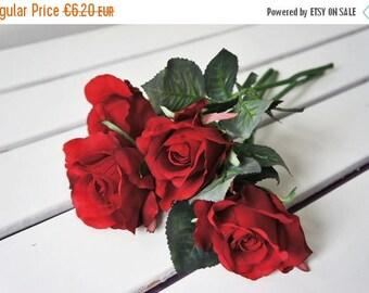 BIG SALE Red Rose   Artificial Flowers   Artificial rose   full bloom rose   deep pink rose with stem   rose with leaf   floral Art   eterna