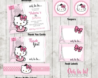Hello Party Package /Hello Party /Kitty Invitation/ Ooh la la! Collections