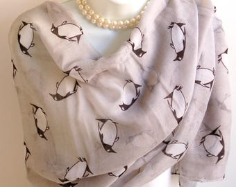Large Penguin Scarf. Light Gray Penguins Print Scarves/Shawl/Wrap/Stole. Animal Lover Scarf.Beach Pareo.Summer Scarves.Summer Scarf.