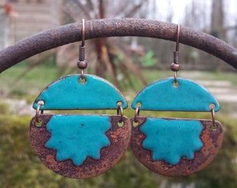 Earrings - turquoise blue Sun half sphere - enamels on copper
