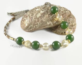 Important necklace in green jade, crystal champagne and small rhinestones an 123Pierres jewel handmade by MP Bertrand, Paris - France